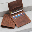 Personalised Woven Leather Rfid Protected Card Holder