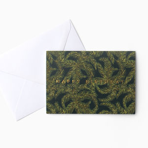 Dark Palm Leaf Birthday Card