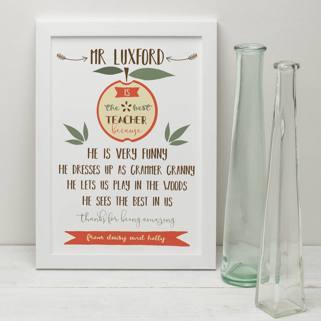 Personalised 'The Best Teacher' Print
