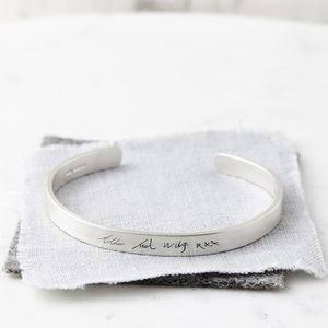 Personalised Silver Handwriting Signature Bangle - bracelets & bangles