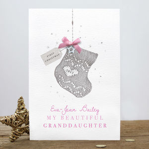 Personalised 'Baby's First Christmas' Stocking Card