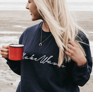 Navy Blue 'Make Waves' Embroidered Sweatshirt And Bag - gifts for her
