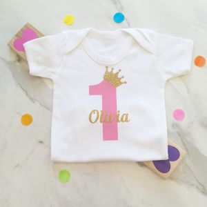 Baby Girls Personalised Birthday Onesie Babygrow