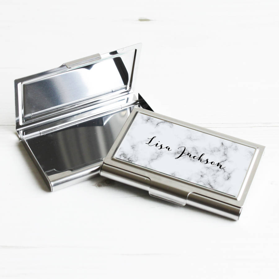 Personalised marble business card case by we love to create personalised marble business card case reheart Images