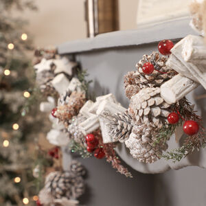 Frosted Nordic Christmas Pine Cone Garland