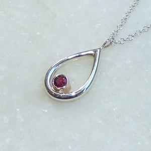 Garnet In Rose Gold And Silver Teardrop Pendant - necklaces & pendants