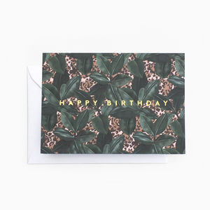 Botanical Leaf Animal Print 'Happy Birthday' Card