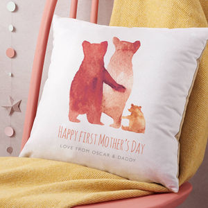 Personalised First Mother's Day Bear Family Cushion - bedroom