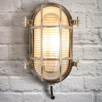 Industrial Oval Chrome Outdoor Wall Light