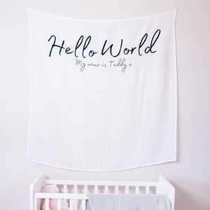 Personalised Hello World Baby Nursery Wall Hanging - children's room