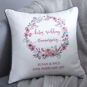 Personalised Anniversary Cushion - 2nd anniversary: cotton
