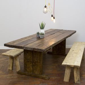 Reclaimed Wooden Plank Table - furniture
