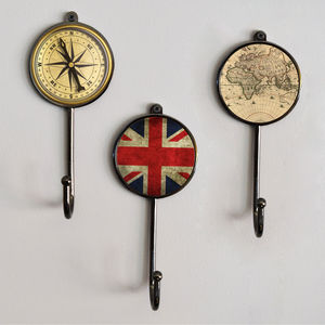 Antique Style Black Metal Coat Wall Hooks - art & decorations