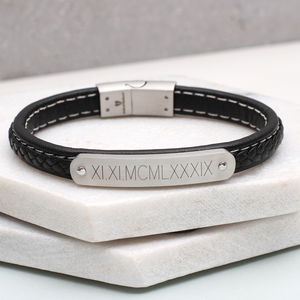 Personalised Leather Men's ID Bracelet - bracelets