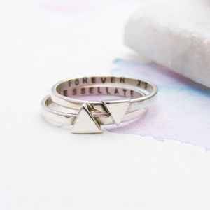 Silver Personalised Triangle Stacking Ring