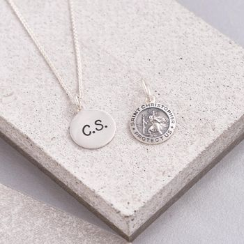 Solid Silver Personalised St Christopher Necklace
