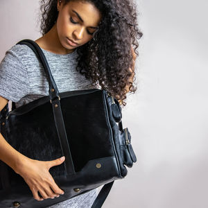 Columbus Weekender In Black Natural Pony Hair