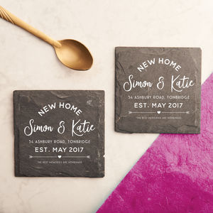 Personalised Couples 'New Home' Slate Coasters