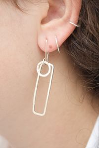 Handmade Silver Layered Long Geometric Earrings