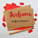 Kraft with red glitter welcome baby cut out card