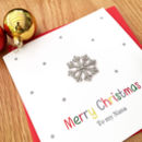 A Personalised Embroidererd Snowflake Xmas Card