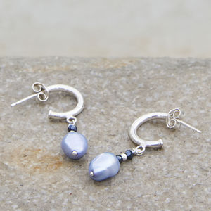 Quinn Lavender Pearl Drop Earrings