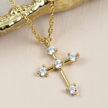 Diamante Cross Necklace In Gold