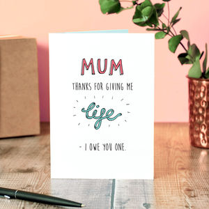 Funny mothers day cards notonthehighstreet mum i owe you one mothers day card m4hsunfo
