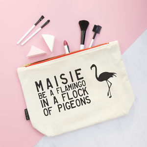 Personalised Flamingo Make Up Purse - personalised