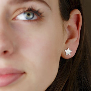 Hammered Silver Star Stud Earrings