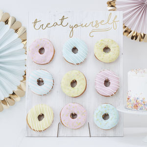 Gold Foiled Treat Yourself Donut Wall Cake Alternative - cake stands