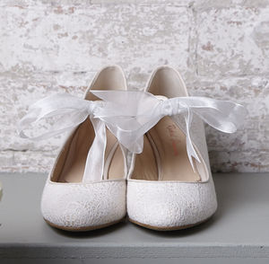 Wedding Shoes Tabitha Ivory Crochet Lace - women's fashion
