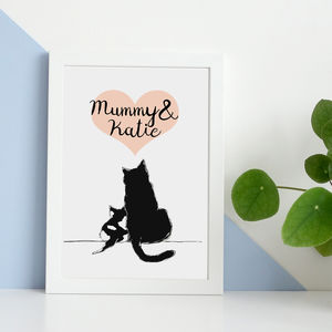 Personalised Mummy And Me Cat Print - posters & prints