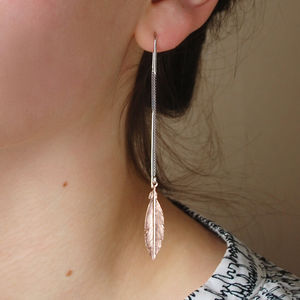 Rose Gold Feather Long Threader Earrings