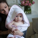Personalised Baby Hooded Towel Edged In Pink Gingham