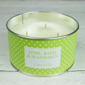 Lime, Basil And Mandarin Citronella Three Wick Candle