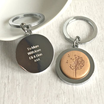 Personalised Wooden Dandelion Wish Keyring