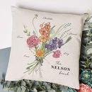 Personalised Family Birth Month Flower Cushion
