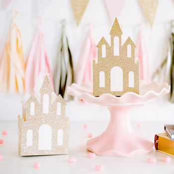 Gold Glitter Castle Favour Gift Boxes