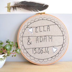Personalised Wedding Gift Embroidered Picture