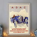 Vintage A.D.A.C Art Deco Racing Car Poster