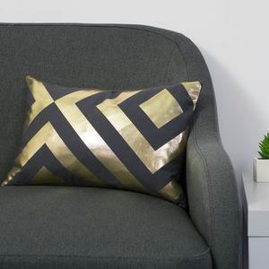 Metallic Chevron Rectangular Cotton Cushion
