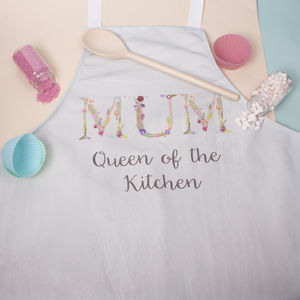 Personalised Mum, Dad Floral Kitchen And Baking Apron