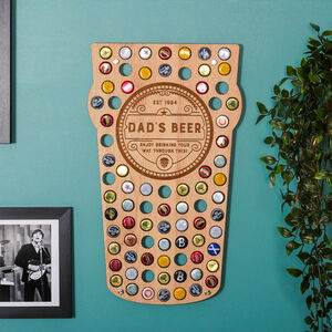 Personalised Pint Glass Beer Bottle Collector Wall Art