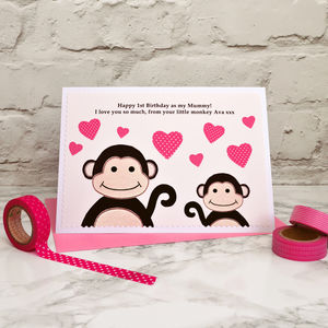 'Little Monkey' Personalised Birthday Card