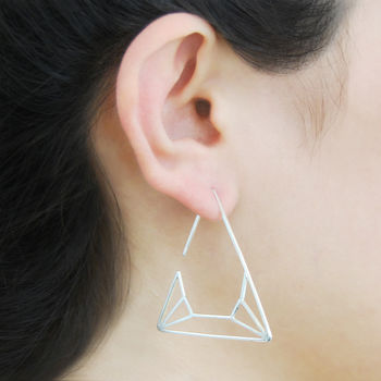 Geometric Sterling Silver Triangle Drop Earrings