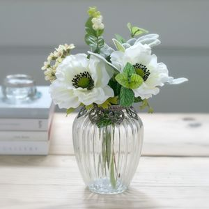 Faux White Flower Posy With Vintage Style Vase - artificial flowers