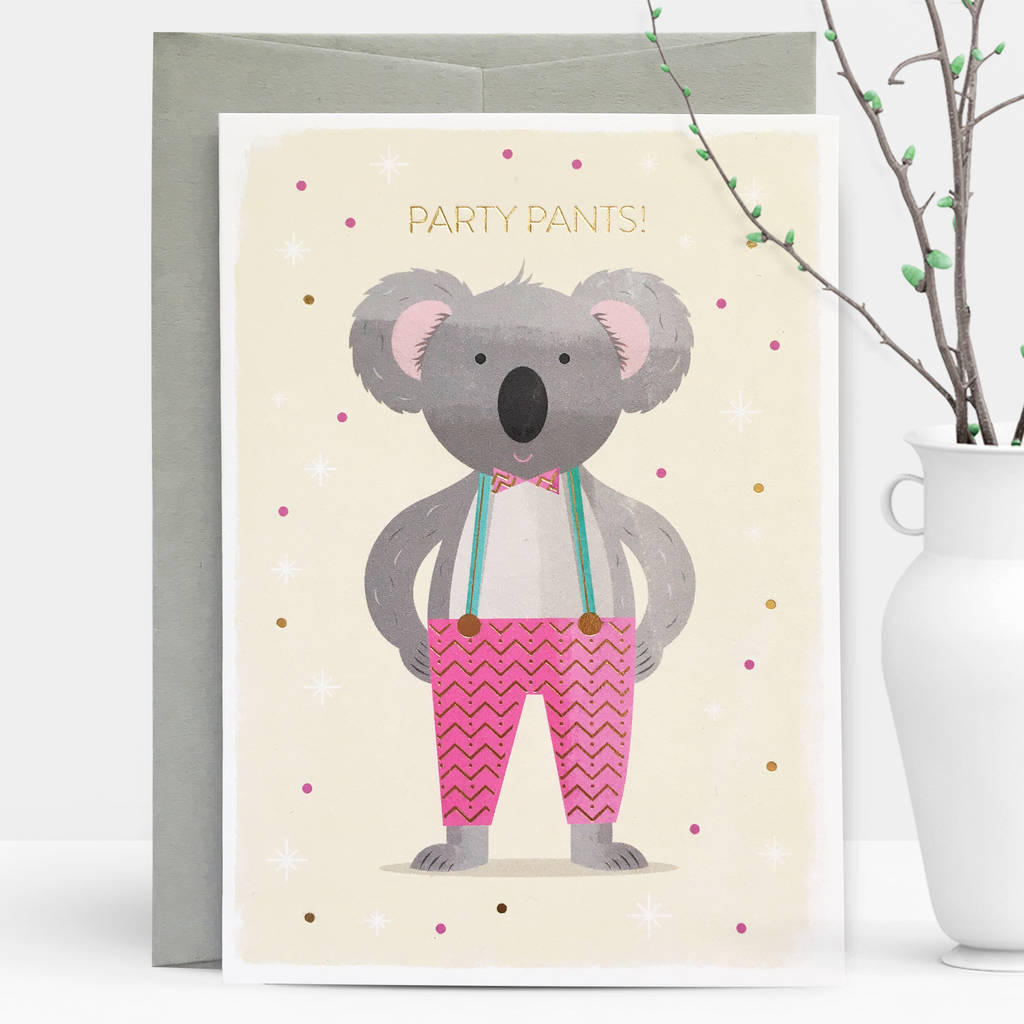 Party pants koala gold foil greeting card by duke rabbit party pants koala gold foil greeting card m4hsunfo