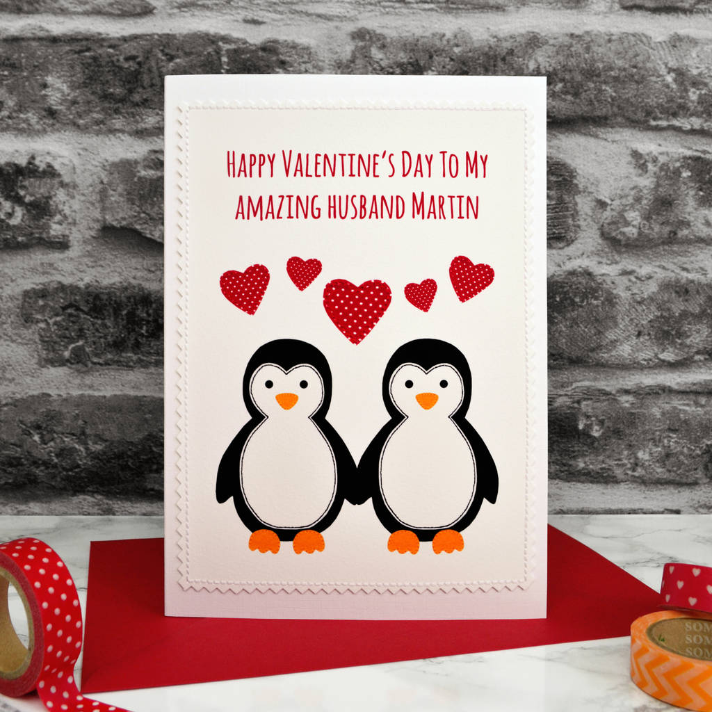 Penguins Personalised Handmade Valentines Card By Jenny Arnott