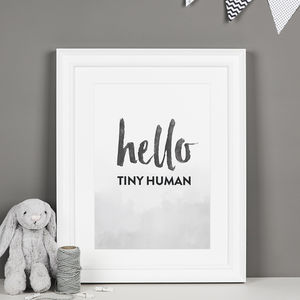 'Hello Tiny Human' Monochrome Nursery Print - children's pictures & paintings